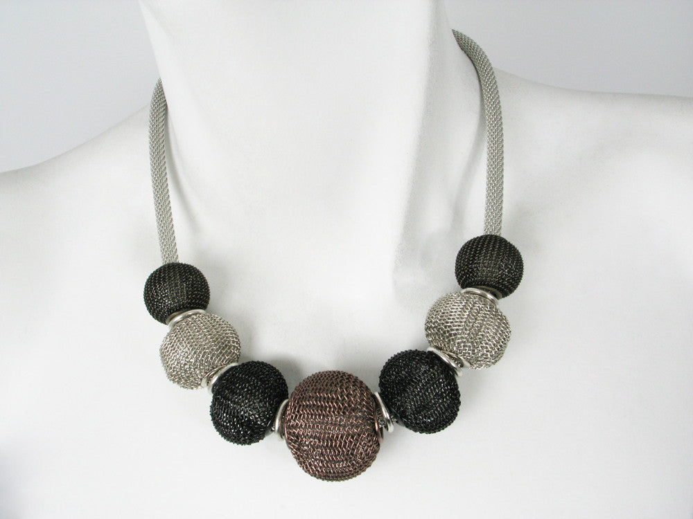 Large Round Mesh Beads on Thick Mesh Strand Necklace - Erica Zap Designs