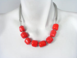 Mesh Necklace with Dyed Coral Beads