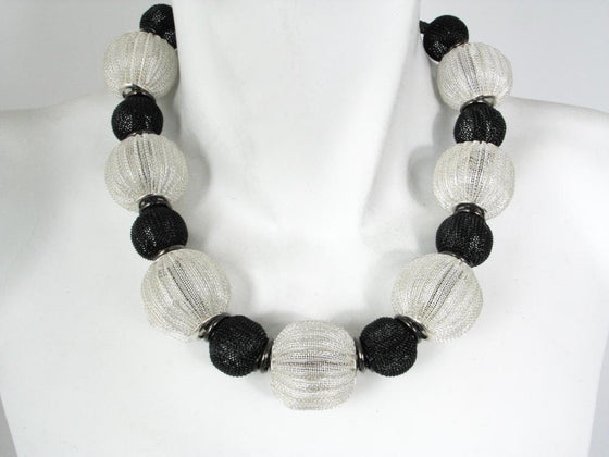 Mesh Necklace with Large Corrugated Mesh Beads | Erica Zap Designs