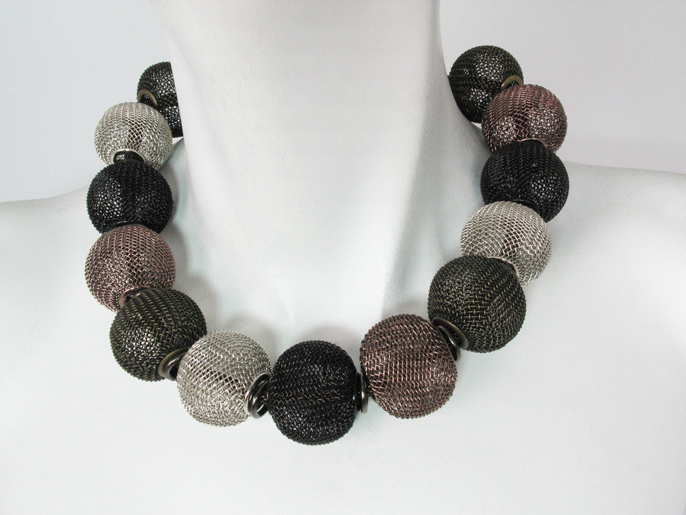 Mesh Necklace with All-Around Large Mesh Beads - Erica Zap Designs