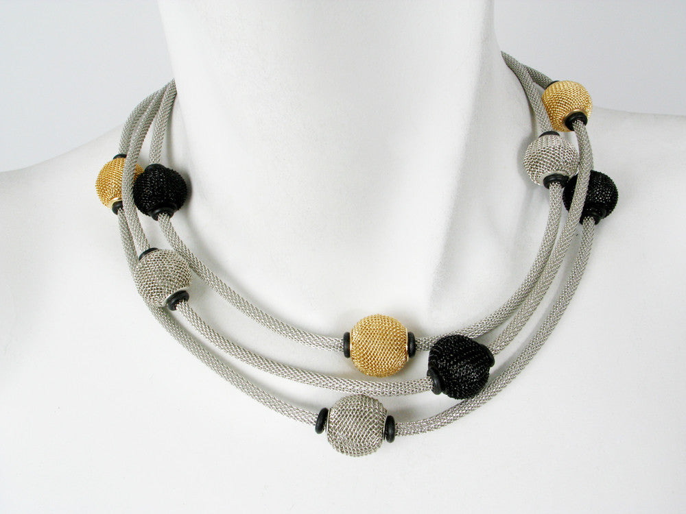 3-Strand Mesh Necklace with Spaced Round Mesh Beads - Erica Zap Designs