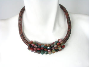 Wire Knit Mesh with Fancy Jasper Bead Necklace