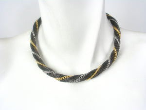Tri Color Twisted Mesh Necklace