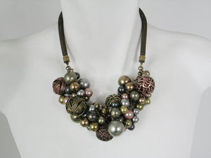 Wire Ball, Pearl, & Mesh Necklace | Erica Zap Designs