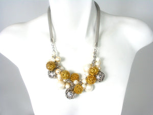 Mesh Necklace with Multi Color Mesh Beads and Faux Pearls