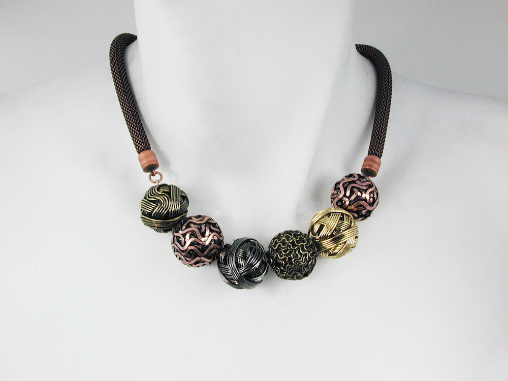 Mesh Necklace with Metal & Wire Beads - Erica Zap Designs