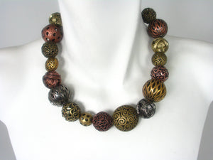 Necklace with All-Around Metal & Wire Beads