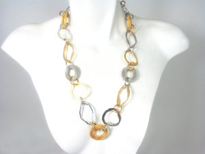Oval Link Mesh & Metal Necklace