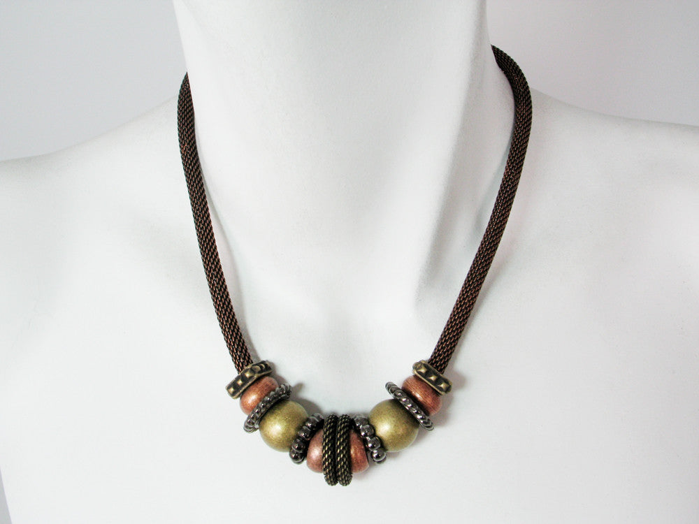 Mesh Necklace with Metal Beads & Textured Spacers | Erica Zap Designs