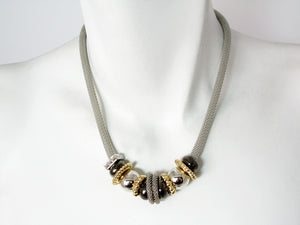 Mesh Necklace with Metal Beads & Textured Spacers - Erica Zap Designs