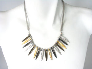 Mesh and Textured Spike Necklace