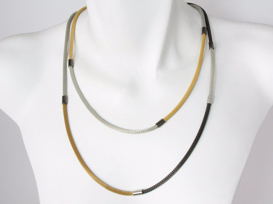 Long Wrap Multi-Section Thin Mesh Necklace - Erica Zap Designs