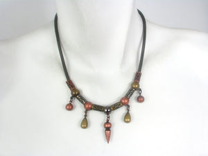Mesh Necklace with Geometric Drops | Erica Zap Designs