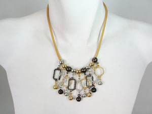 Mesh Necklace with Textured Metal Charms | Erica Zap Designs