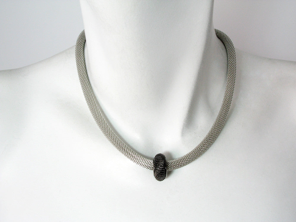 Mesh Necklace with Single Mesh Rondelle Bead - Erica Zap Designs