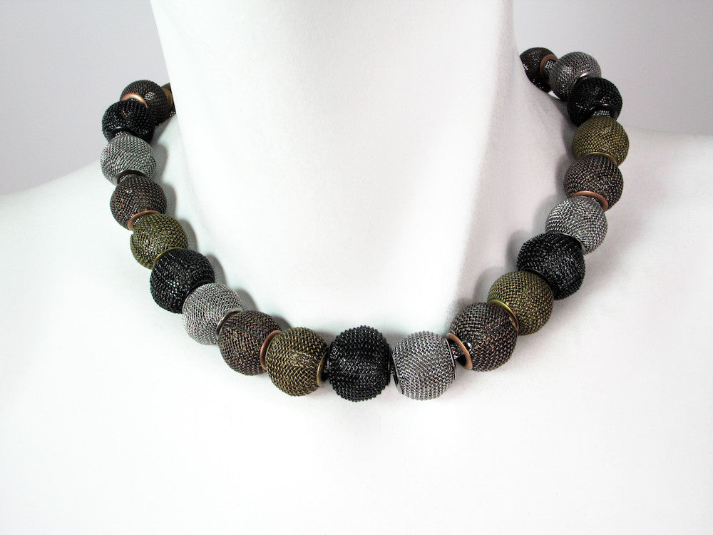 Mesh Necklace with All-Around Small Mesh Beads | Erica Zap Designs