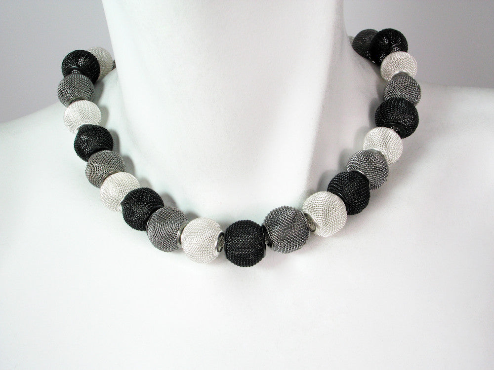 Mesh Necklace with All-Around Small Mesh Beads - Erica Zap Designs