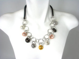 Mesh Necklace with Multi Color Mesh Beads