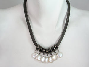 Pearl and Mesh Necklace | Erica Zap Designs