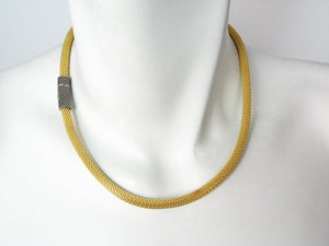 Thin Mesh Necklace with Textured Magnetic Clasp | Erica Zap Designs