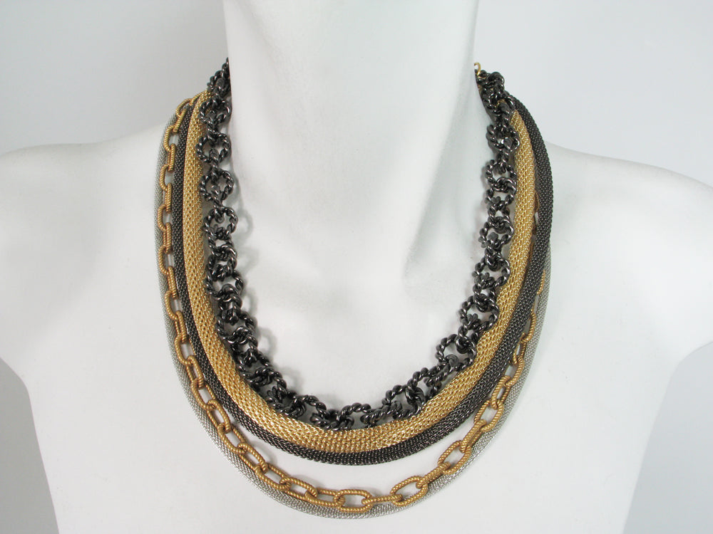 Multi Strand Mesh and Chain Necklace | Erica Zap Designs