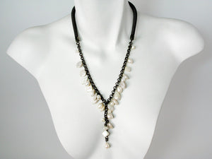 "Mesh ""Y"" Necklace with Pearl Drops 
