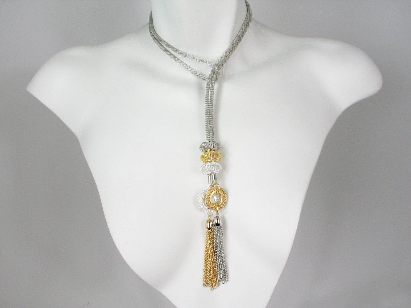 2-Way Mesh Slide Necklace with Circle & Tassel Ends | Erica Zap Designs