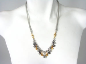Mesh and Metal Ball Necklace
