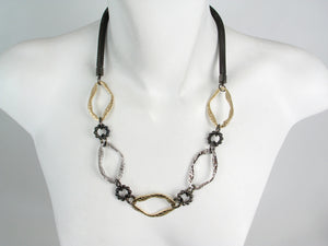 Hammered Metal & Mesh Necklace | Erica Zap Designs