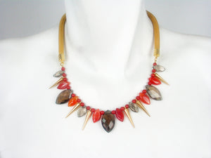Mesh Necklace with Stones and Cones | Erica Zap Designs