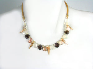 Thin Mesh Necklace with Stones and Cones | Erica Zap Designs