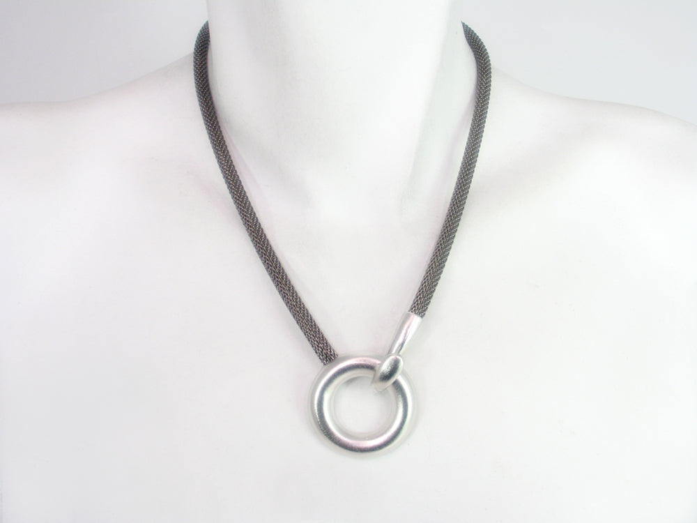 Mesh Necklace with Circle Hook Clasp