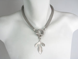 Rhodium Mesh Leaf Necklace | Erica Zap Designs