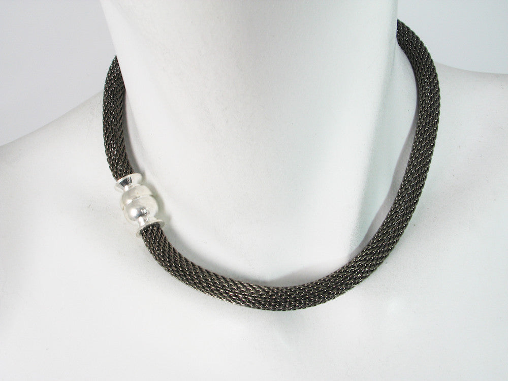 Black Nickel Mesh Necklace with Magnetic Ball Clasp | Erica Zap Designs