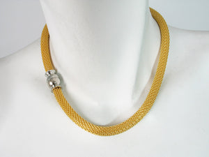 Gold Mesh Necklace with Magnetic Ball Clasp | Erica Zap Designs