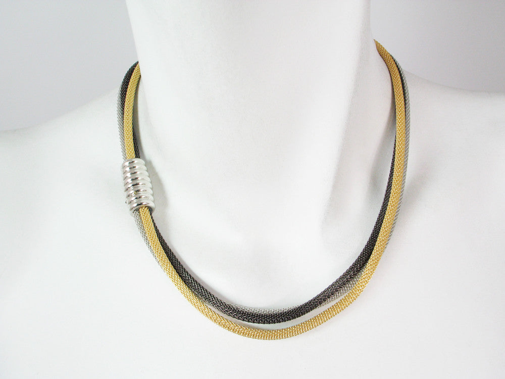 3-Strand Mesh Necklace with Magnetic Barrel Clasp - Erica Zap Designs