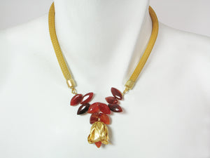Carnelian Flower Mesh Necklace | Erica Zap Designs
