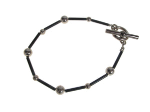 2 Tone Sterling Ball and Tube Bracelet | Erica Zap Designs