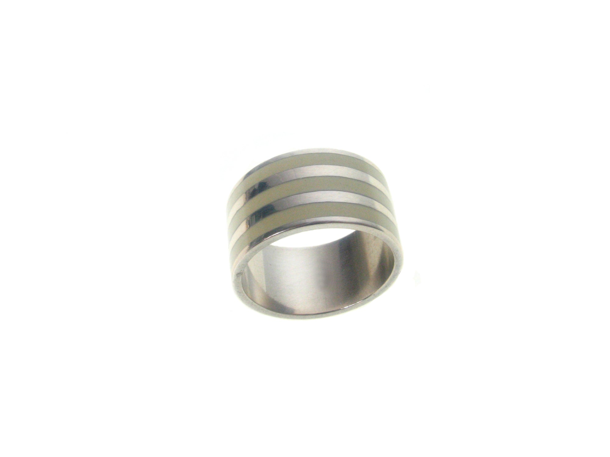 Sterling  Silver Ivory Inlaid  3 Stripe Ring