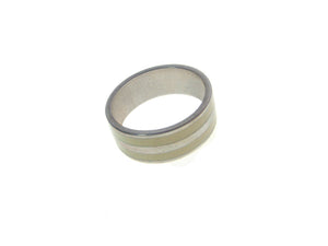 Sterling  Silver Ivory Inlaid  2 Stripe Ring