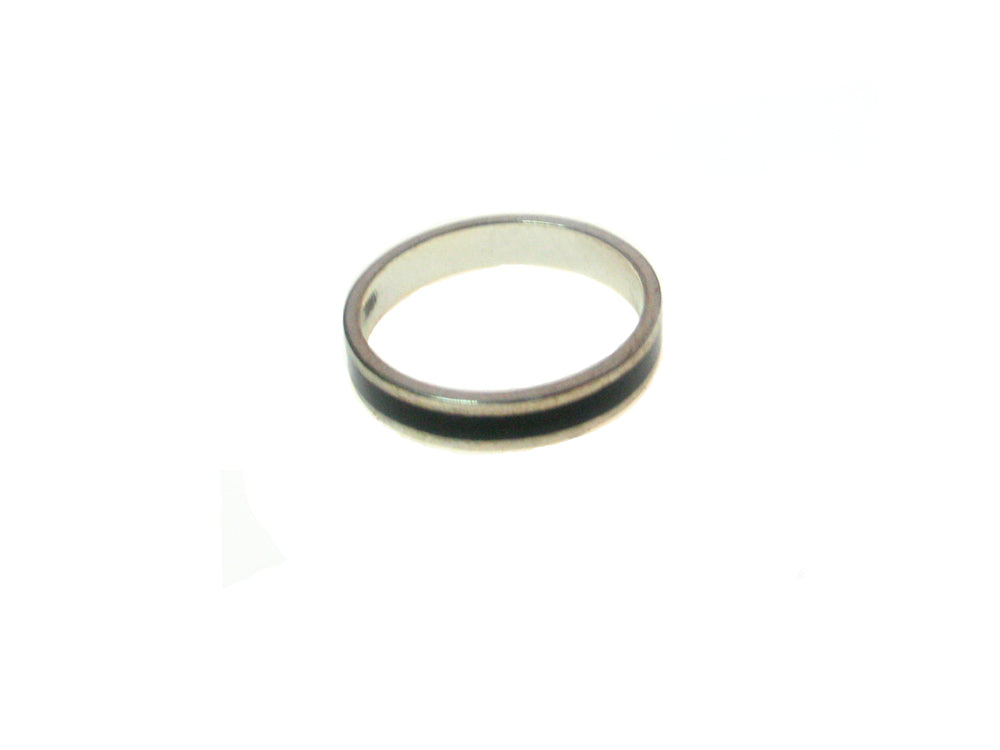 Sterling  Silver Black Inlay Ring
