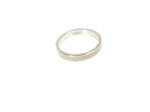 Sterling  Silver Ivory Inlaid Ring