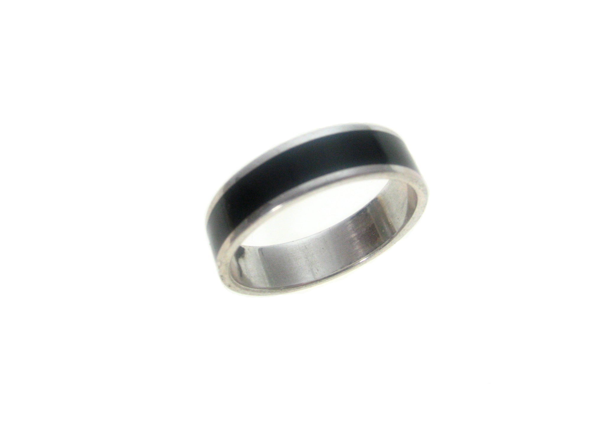 Sterling  Silver Black Inlaid Ring