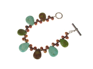 Green Turquoise and Pearl Bracelet | Erica Zap Designs