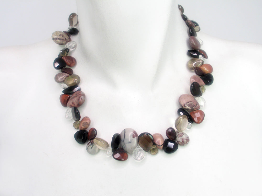 Briolette Stone Necklace | Jasper Onyx Mix