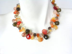 Briolette Stone Necklace | Carnelian Mix