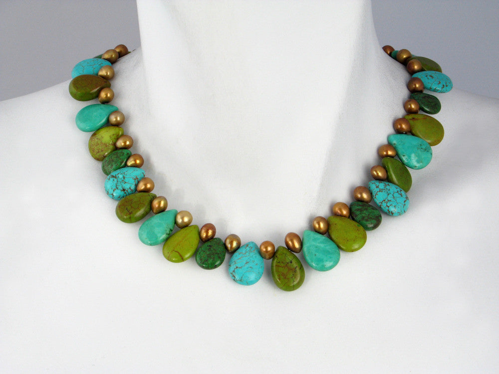 Turquoise & Copper Pearl Necklace - Erica Zap Designs
