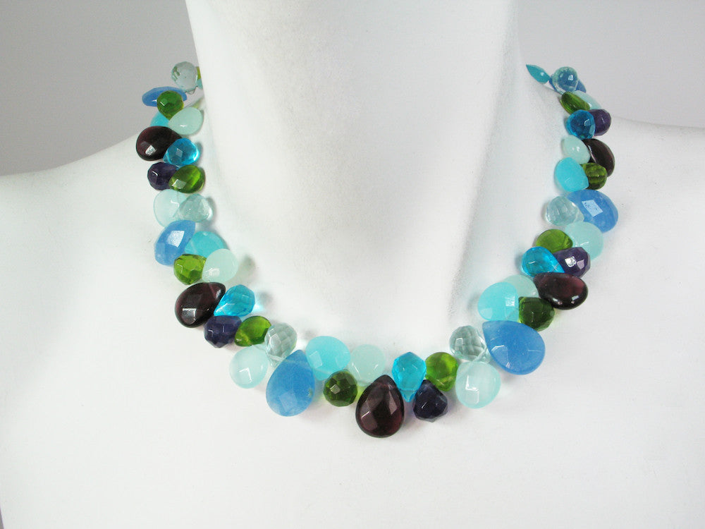 Briolette Stone Necklace | Blue Quartz Mix - Erica Zap Designs