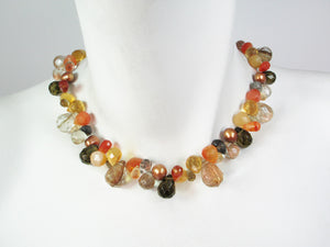 Briolette Stone Necklace | Carnelian Mix | Erica Zap Designs