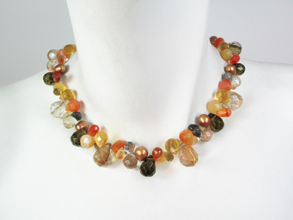 Briolette Stone Necklace | Carnelian Mix - Erica Zap Designs